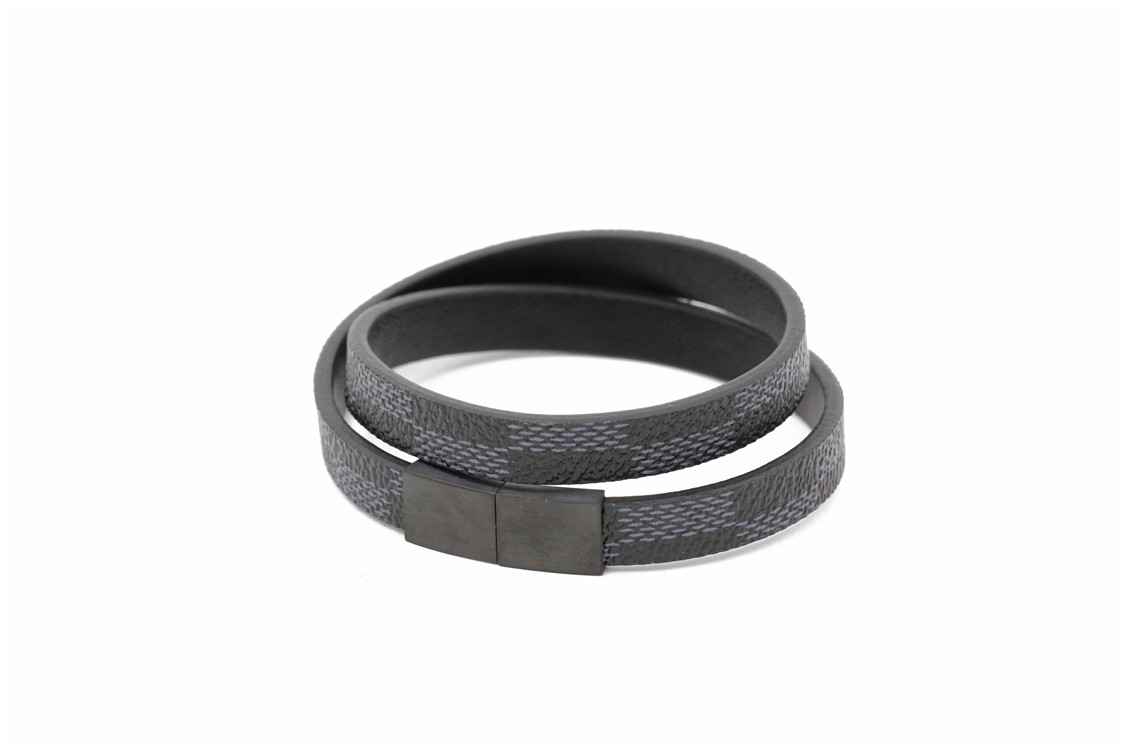 Hot selling jewelry rock style black leather men fashion bracelet wholesale