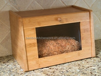 16 inch Bamboo wood square bread box with window