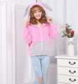 Shu velveteen wholesale pink rabbit bunny hoodie with ears adult pink rabbit bunny animal hoodie