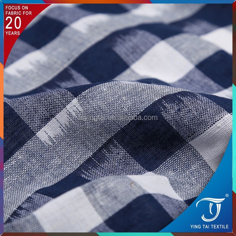 Classical check shirting fabric 100% cotton stripe dress fabric with superior quality