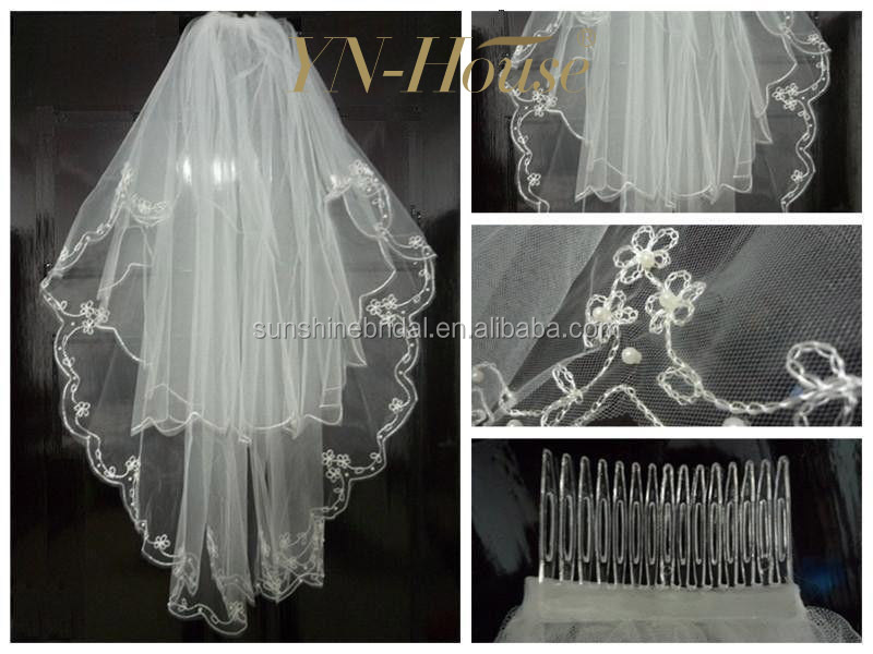 2016 NEW Beautiful New White/Ivory 2T Beaded Edge Bridal wedding veil with comb