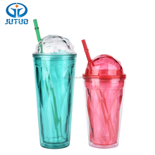 Promotional custom logo 16oz and 20oz diamond shape double wall plastic tumbler with straw