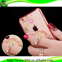Diamond holder electroplating TPU cellphone case, crystal tpu case for Iphone 6S