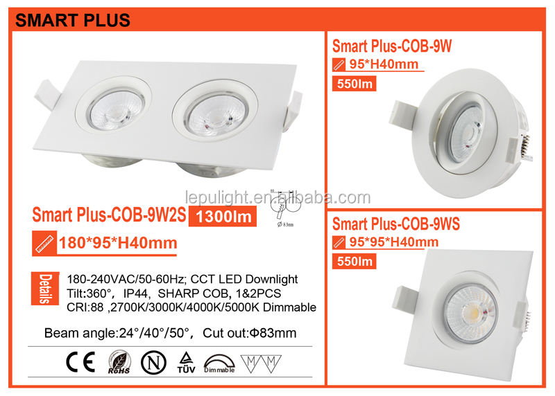 5 years warranty Norge ELKO Patent GYRO lepu led downlight square 9w