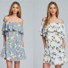 Elegent high quality women boat neck floral print ruffle off the shoulder dress
