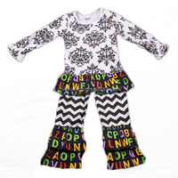 traditional baby boy korean winter children black damask baby girls chevron clothing sets with ruffle