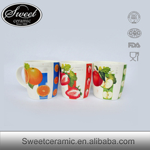 liling SWEET strawberry pattern decal ceramic tea cup