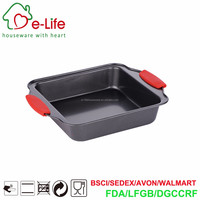 Dark Grey Non Stick Coated Metal Made 8 inch Square Cake Pans/Baking Moulds with Silicone Protection Grips