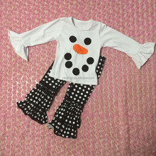 Factory direct sale 2 pcs white long sleeve tops matching black polka dots triple ruffle pants baby girl outfits