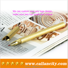 China factory price real gold writting pens with diamond & gold pens for sale