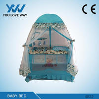 Alibaba most popular baby playpen travel cot play yard with red,green,blue color