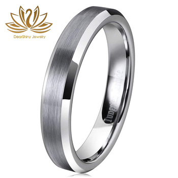Rasoret Scratch-Resistant Classic 4mm Brushed Tungsten Mens Wedding Bands Beveled Edge Brushed Finish Comfort Fit