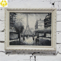 retro Eiffel Tower subject France buildings oil painting wall art