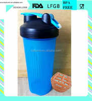 20 OZ Plastic protein shaker bottle with ball, adjustable loop or handle and whisk ball