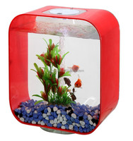 Red freestanding acrylic wholesale fish tanks with natural driftwood