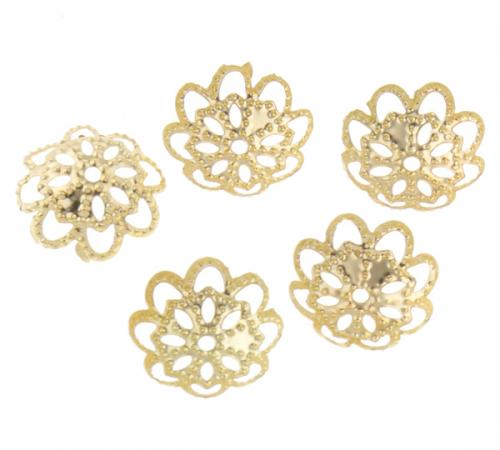 gold color Wholesale Iron Bead Caps Flower with hollow <strong>hole</strong> 1mm 234347