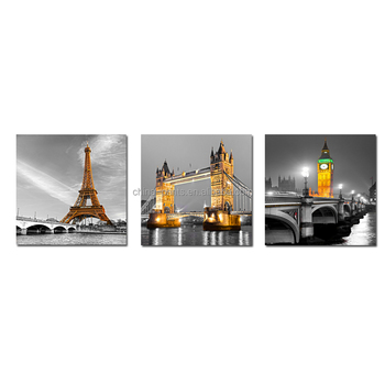 Black and White Effil Tower Architectural Interior Wall Panels Decoration 3 Piece Wall Art Canvas Print for Home Decoration