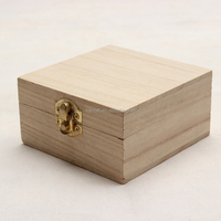 small unfinished wooden box with lid for kids storage