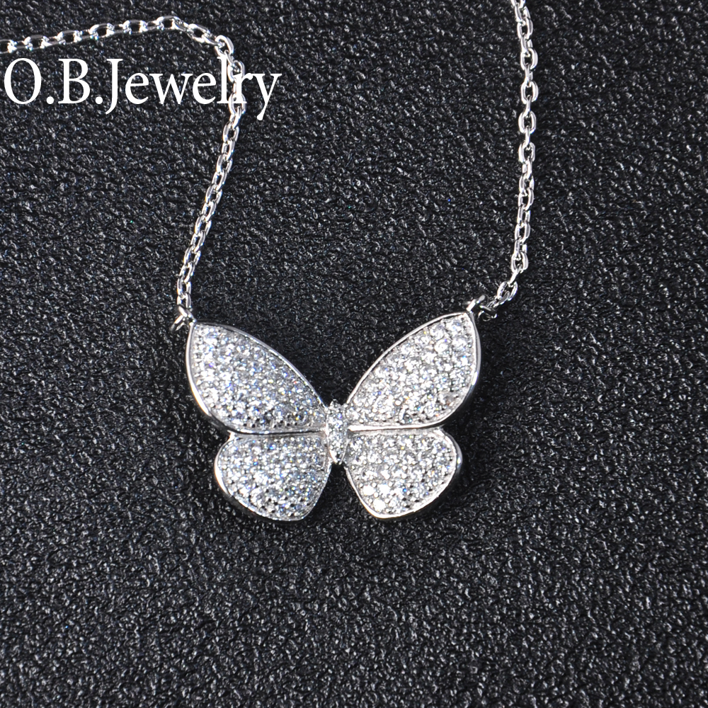 OB Jewelry-Real Gold Plating Tennis Necklace Party AAA Clear Zircon Necklace For Women