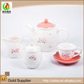 Made in china cherry relief decal eco-friendly ceramic porcelain fine classic coffee and tea set