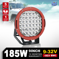 High Power 9'' led headlight 185w led driving light with spot and flood covers