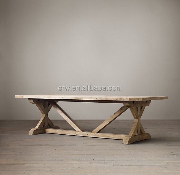 DT-1505 Salvaged Wood Furniture K Shape Leg Old Elm Dining Table