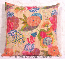 Handmade tropical kantha cushion cover sham flower printed cushion cover traditional rajasthani indian cushion cover
