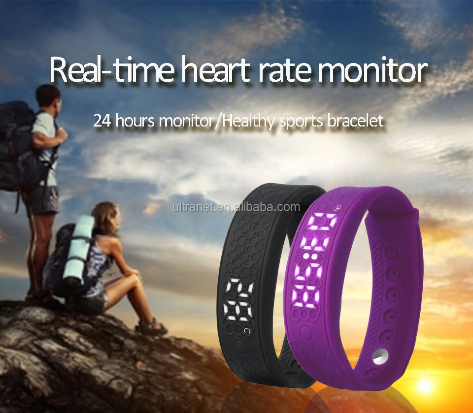 Sports timer wristwatch step distance calorie counter fitness led watch with heart rate monitor