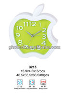 2016 fashion Plastic Apple shape 3D Wall Clock(3215)