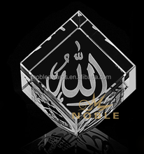 Noble New Design Islamic Crystal Cube Sand Tilt Customized Logo For Souvenir Gift