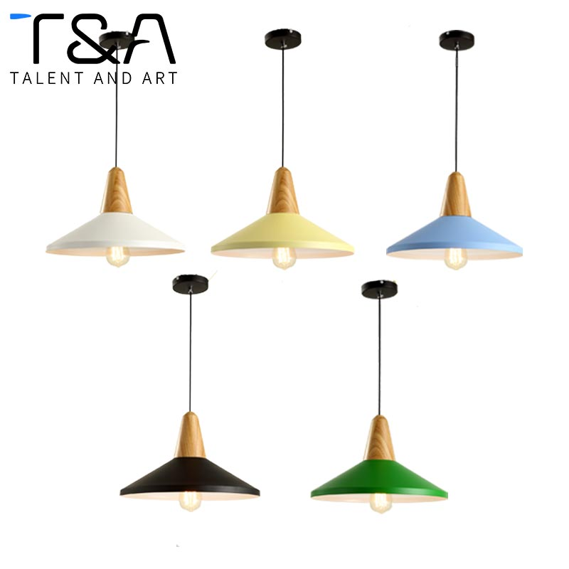Fancy design many color available indoor living room modern wood beaded + iron + ceramic pendant lamp light