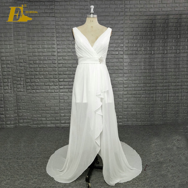 Hot Sale Custom Made Cheap Fat Elegant Ivory Bridesmaid Dress With Bead Belt