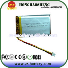 Made in China 3.7v 1200mah li-ion polymer 503790 rc battery nife battery gpr