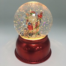 Christmas Decoration Led Lighted Santa Acrylic Plastic Water Snow Globe with Swirling Water
