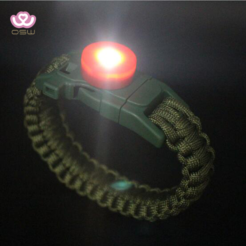Survival Tactical Paracord Bracelet Essential Survival Gear Kit With SOS Led Light Fire Starter Whistle For Hiking Camping
