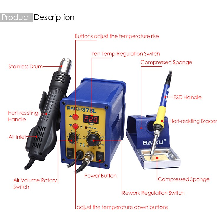 Hot Sale BAKU BK-878L 2 In1 Hot Air SMD Rework Soldering Station LED Digital Display Rework Station