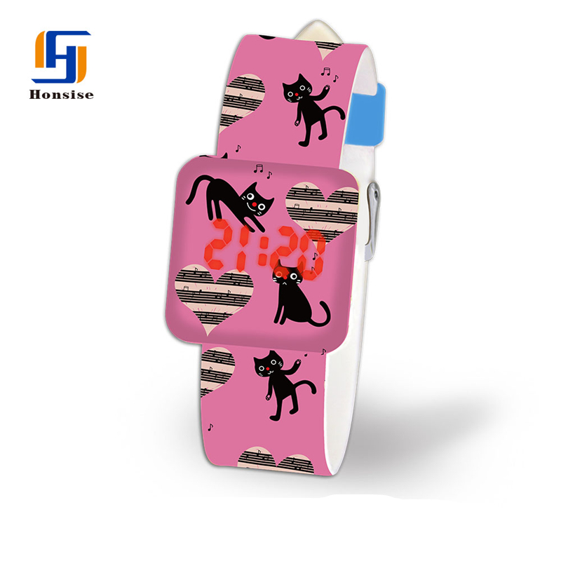 Hot Selling Wrist Watch Made In China Pictures Of Fashion Pattern Printing Led Girls Watches