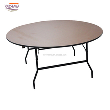 2017 Factory Cheap Price Foldable Round Wedding Banquet Dining Table With Metal Table Legs/Party Table Cloths