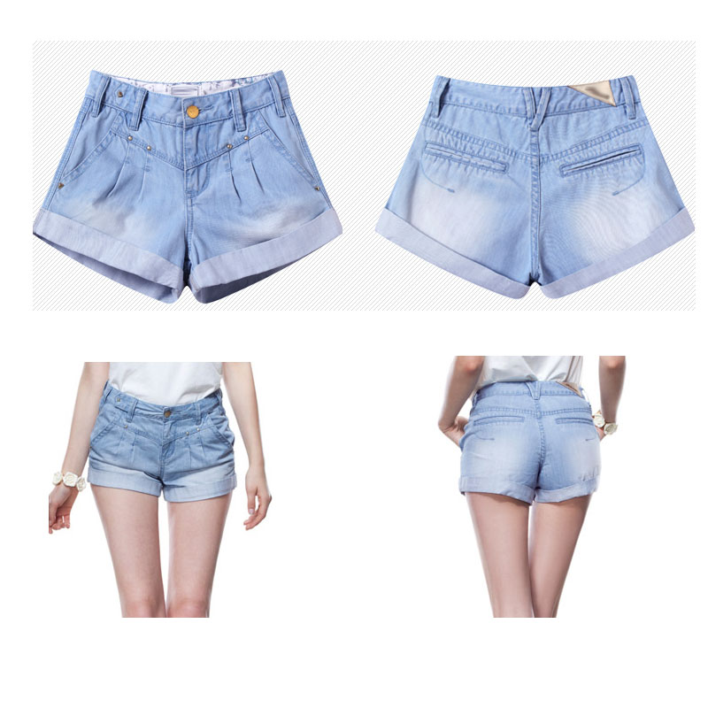 2016 new design denim lady shorts (DS140111)