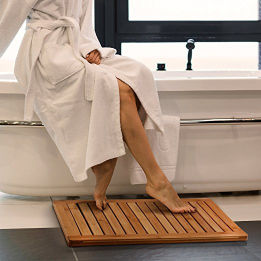 100% natural bamboo floor and curved shower mat