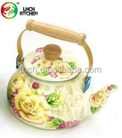 Kitchen cookware 2.5 Liter ball shape enamel carbon steel tea kettle with full flower decal and wooden handle