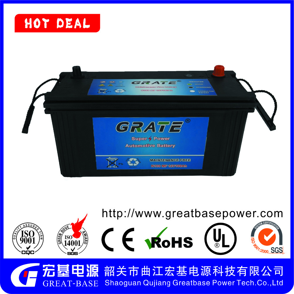 Auto high quality car battery 12V sealed maintenance free for engine start JIS Standard N100 100AH car batteries
