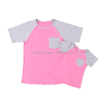 Latest gray and pink short sleeves mommy and me raglans adult ruffle raglan shirt