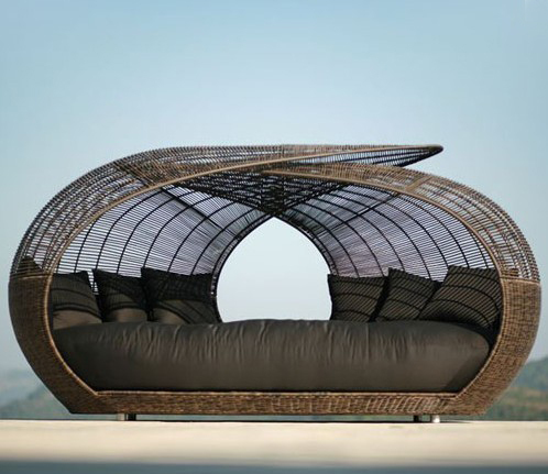 rattan daybed outdoor beach sun bed