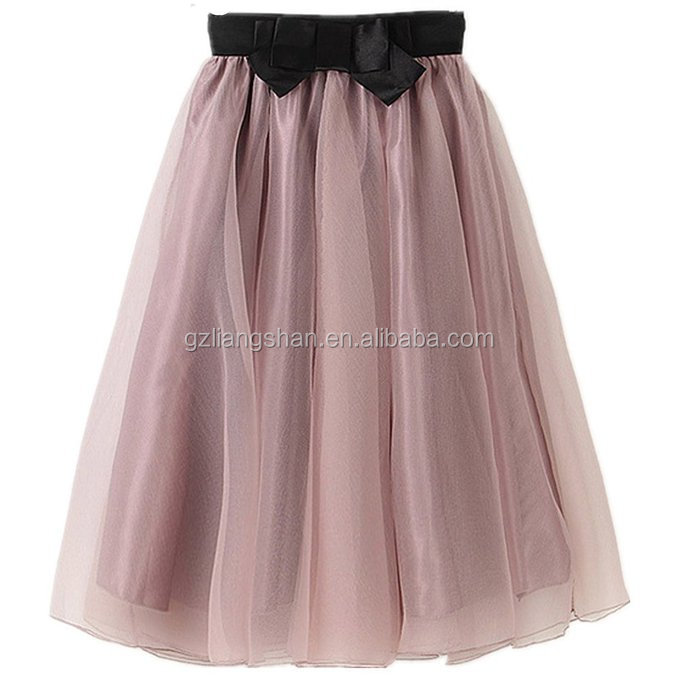 Wholesale Custom Lady's Organza Princess Skirt Bowknot Pleated Midi Women Knee Length Skirts