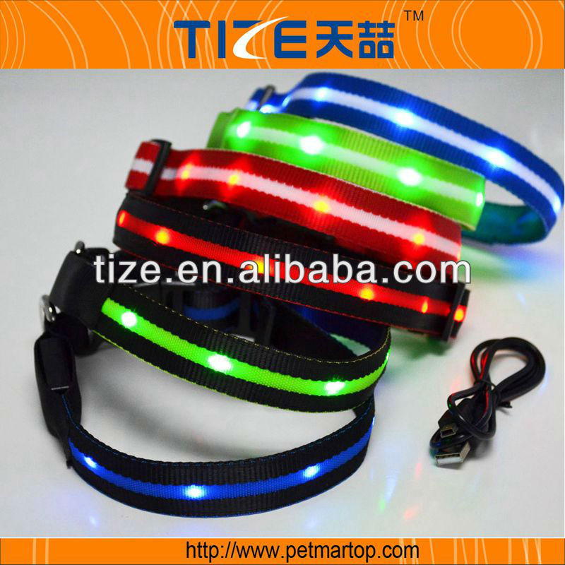 Hot pet products TZ-PET6100U led rechargeable recycled material dog collars