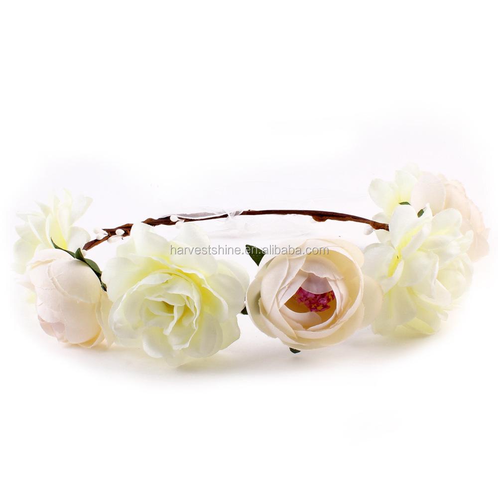 Boho Style Artificial Flower Crownpink Tiara Flower Crown Buy