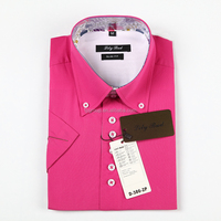 Latest design short sleeve dress shirt for men with solid color