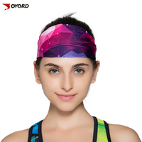 wholesale custom sublimated polyester headbands sports wicking microfiber moisture sports headbands for girl