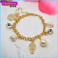 Boosin Lovely Gold Nugget Bracelet with pearl Charm